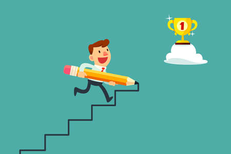 achievement: Happy businessman use pencil to create his own stair to success.