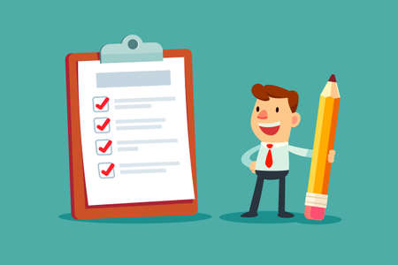 Happy businessman holding a pencil looking at completed checklist on clipboard. Illustration