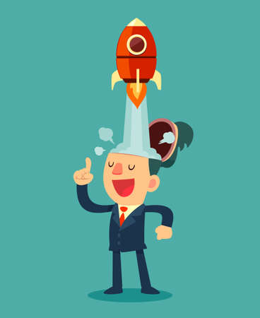 smart goals: Successful businessman with rocket ship launching from his head. Business idea start up concept.