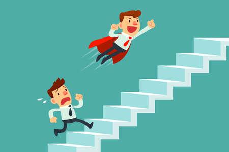 赤いマントは飛行のスーパー ビジネスマンは、階段を登って別の実業家を渡します。ビジネス競争の概念。