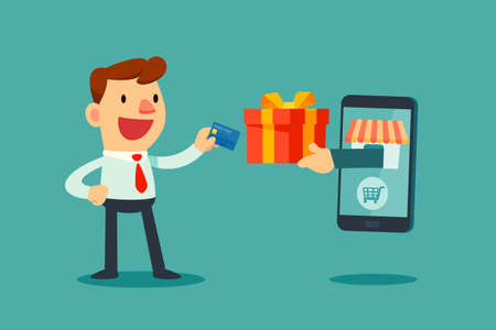 Happy businessman use credit card to shopping online and receive a gift box from smart phone. E-commerce concept. Vettoriali