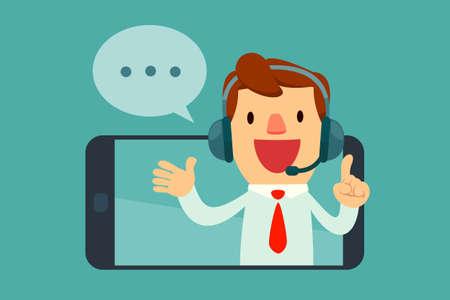 헤드셋은 스마트 폰의 화면에서 말하는 남성 연산자를 웃고. 고객 서비스 개념.