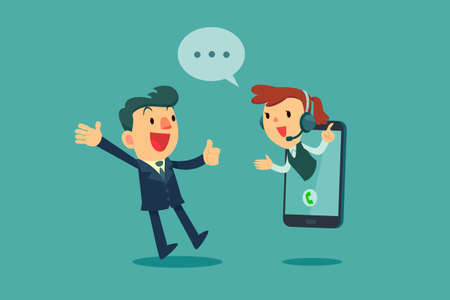 Happy businessman give thumb up to call center operator on screen of smart phone. Online customer service concept.