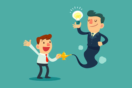 Successful businessman genie holding idea bulb come out of golden magic lamp. Assistance and Consultant concept.