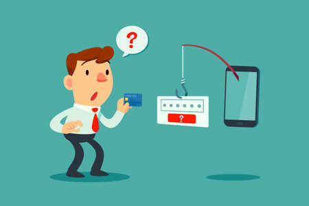 Businessman holding credit card get confused by fishing rod come out of smart phone screen asking for password. Phishing scam concept. Illustration