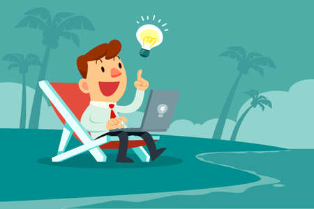 Happy businessman with idea bulb working with computer on the beach. Remote working and freelance concept.