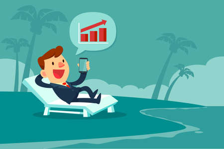 Happy businessman relaxing on beach chair and looking at bar chart on smart phone screen. Remote working concept. Vectores