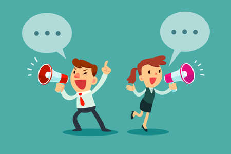 Happy businessman and businesswoman talking into megaphone. Make an announcement. Imagens - 76968831