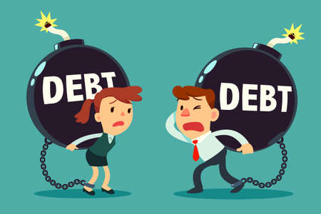 businessman and businesswoman carry giant debt time bomb. Business and finance concept.