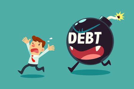 businessman run away from debt monster time bomb. business debt concept.