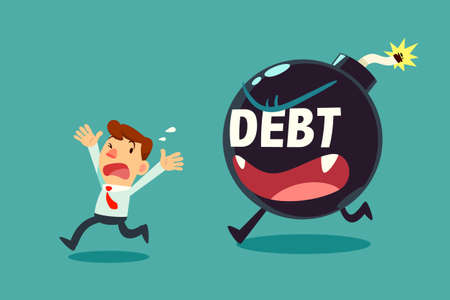 businessman run away from debt monster time bomb. business debt concept.