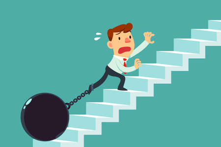 businessman chained to metal ball climbing stair. Burden concept.