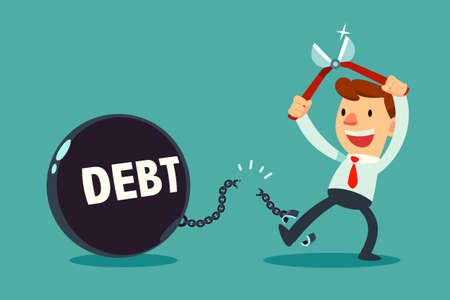 Geschäftsmann benutzen Zangen, um die Kette zu schneiden und sich von Schuldenmetallkugel zu befreien. Konzept der finanziellen Freiheit.