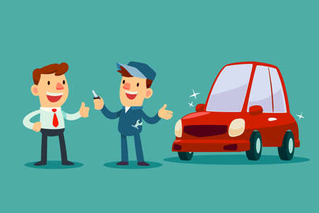 Auto mechanic give a key of repaired car back to his customer. Car service concept. Illustration