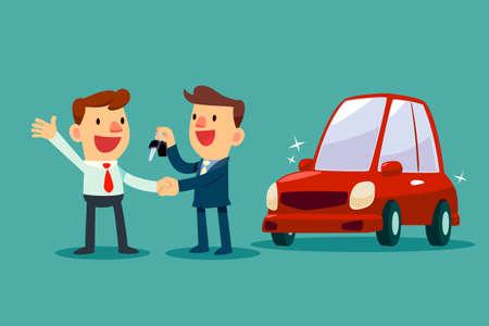 Il venditore di automobili dà una stretta di mano e una chiave di auto nuova per l'uomo d'affari. Vendita auto. Concetto di business auto.