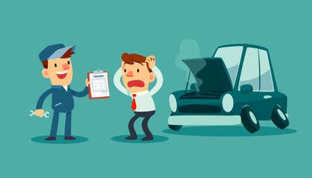 Cita de la demostración del mecánico auto para la reparación del coche a su cliente. Auto concepto de negocio. Ilustración de vector