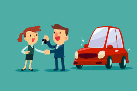 De autoverkoper geeft een handdruk en een nieuwe autosleutel aan onderneemster. Autoverkoop. Auto bedrijfsconcept. Vector Illustratie