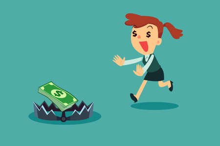 bear trap: Greedy businesswoman running to money on bear trap