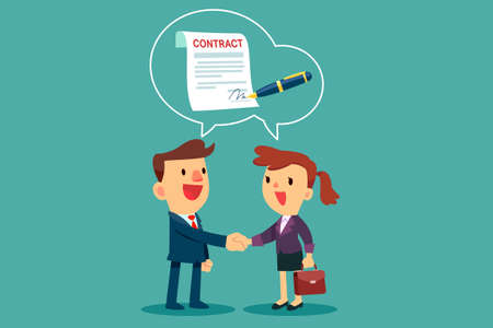 businessman and businesswoman shaking hand and agree to sign contract after successful business discussion. Business agreement concept.