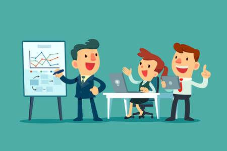Business-Team zusammenarbeiten im Büro. Geschäftsführer diskutiert Geschäftsstrategie mit seinem Team.