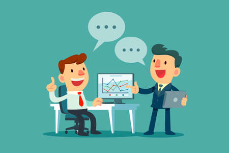 two businessmen discussing business strategy at office desk. Boss and employee working together. Stock Illustratie