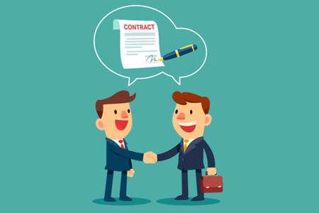 dos hombres de negocios dándose la mano y aceptan firmar un contrato después de una discusión comercial exitosa. Concepto de acuerdo comercial. Ilustración de vector