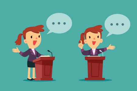 Successful businesswoman giving a speech at podium. Public speaking concept. Illustration
