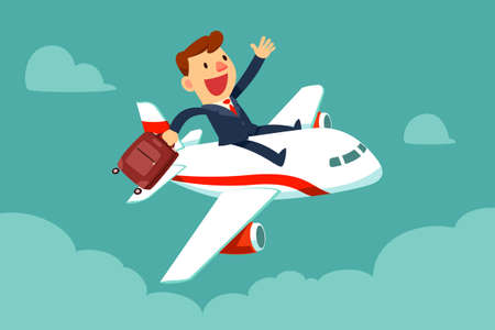 Happy businessman with suitcase sit on top of airplane. Business travel and transportation concept.