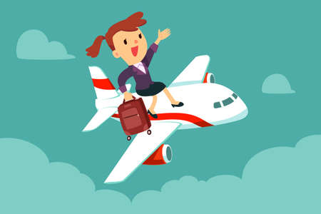 Happy businesswoman with suitcase sit on top of airplane. Business travel and transportation concept. Vectores