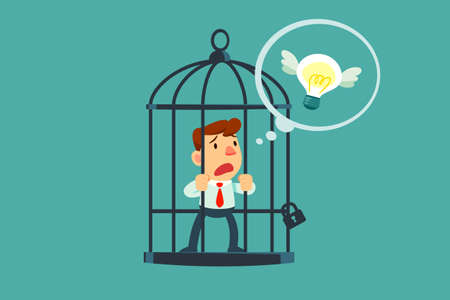 Businessman locked in cage thought of flying idea bulb. Freedom concept. Vectores