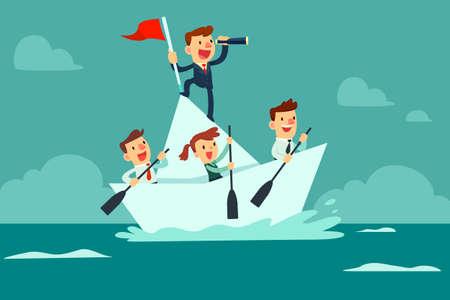 Homme d'affaires avec spyglass mener une équipe commerciale naviguer sur un bateau en papier dans l'océan
