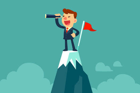Successful businessman holding spyglass stand beside red flag on top of mountain. Searching for new business opportunity.