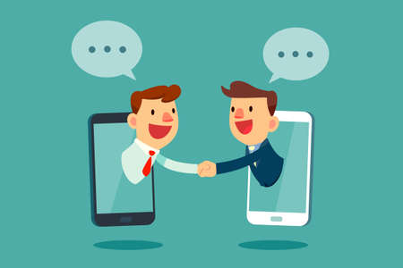 Businessmen shaking hands through smart phone screen. Business communication and technology concept.