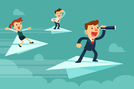 Business team on paper airplanes. Businessman with spyglass and his team flying on paper airplanes searching for new opportunity. Stock Illustratie