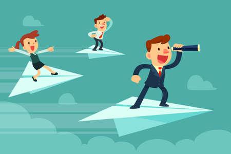 Equipo de negocios en aviones de papel. Empresario con spyglass y su equipo volando en aviones de papel en busca de una nueva oportunidad.