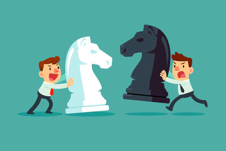 Two businessmen moving chess pieces against each other. Business competition and strategy concept.
