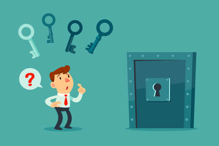 Confused businessman try to choose the right key to unlock metal door. business decision concept. Vectores