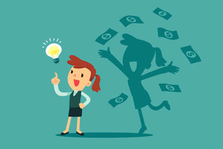 Businesswoman with idea bulb and her successful shadow get a lot of money. Business creativity concept. Vectores