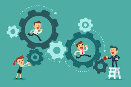 Business team running in set of gears mechanism. Cogwheels. Business teamwork concept.