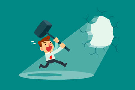 Businessman holding a hammer breaking through the wall. Business concept. Illustration