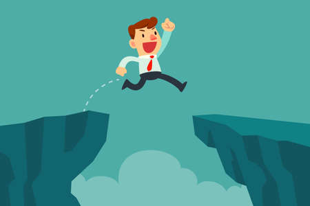 Businessman jump over cliff gap, overcome the difficulty. Business concept Vectores