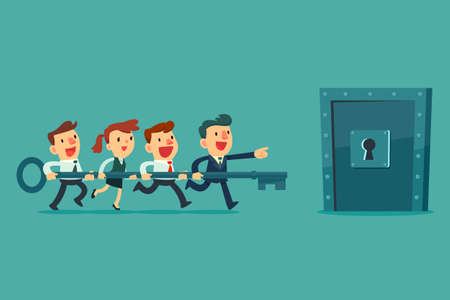 Businessman and his business team holding big key together and try to unlock the metal door. Business teamwork concept. Stock Illustratie