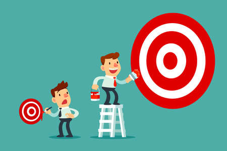 Businessman on ladder painting big business target goal and another businessman painting small target. Business target concept. Vectores