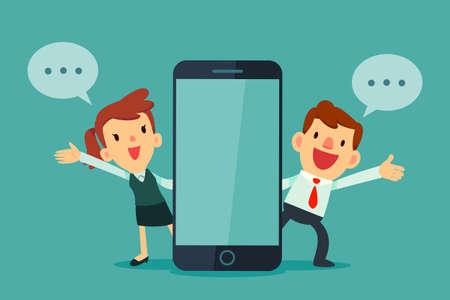 Mann und Frau, die neben Telefon mit leerem Bildschirm sprechen.