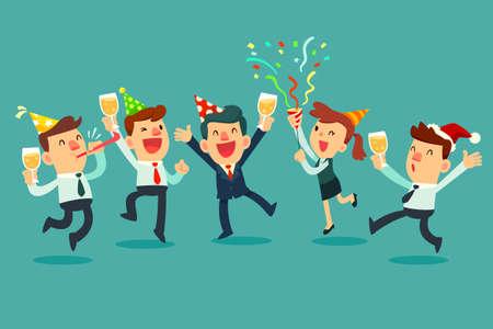 Equipo de negocios feliz en la fiesta. Empresario y empresaria levantando copas de champán celebrando en fiesta de la oficina. Ilustración de vector