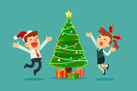 Happy businessman and businesswomen wearing Christmas hat jumping and celebrating Christmas party, with decorated Christmas tree and gift boxes in the background. Vectores
