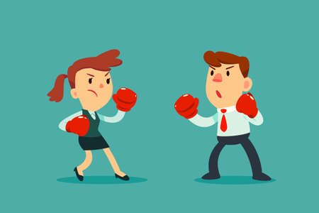Businesswoman in boxing gloves fighting against businessman. Business competition concept.