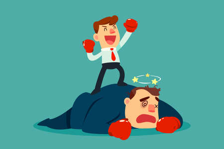 Businessman in boxing gloves won the fight against bigger businessman in suit. Business competition concept. 向量圖像