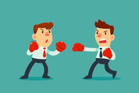 Homme d'affaires en gants de boxe luttant contre un autre homme d'affaires. Concept de concurrence commerciale.