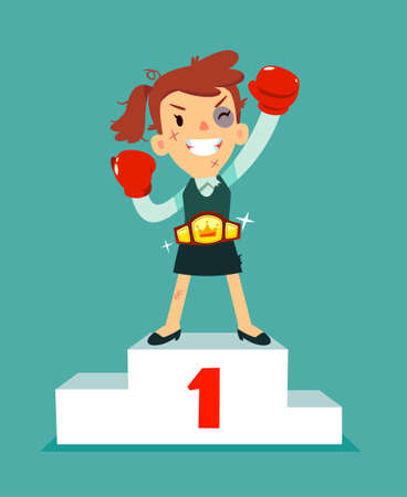 Businesswoman in boxing gloves won the fight and wearing championship belt on number one podium. Business concept.